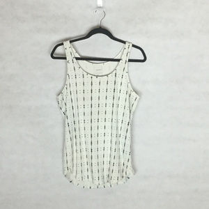 Sonoma White Ribbed Tank with Black Pattern